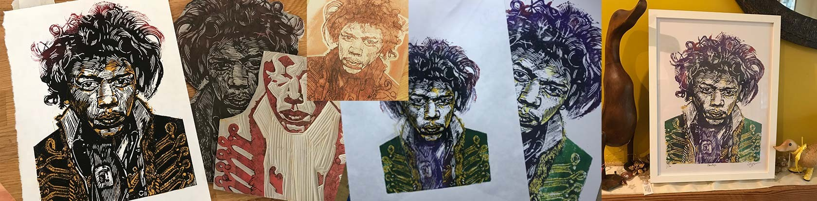 Images of the lino used to create the final Hendrix print
