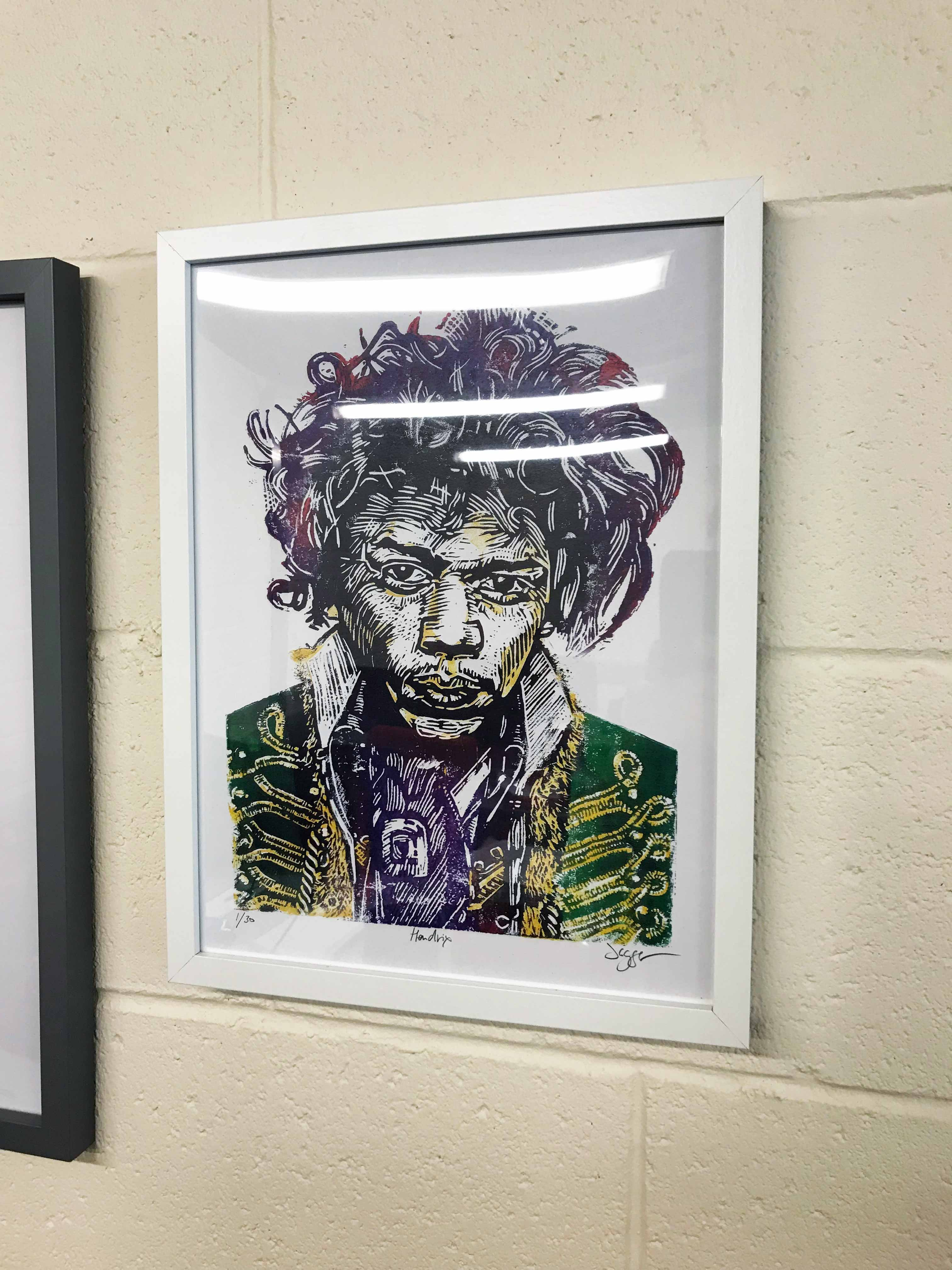 Wall mounted framed print of Hendrix
